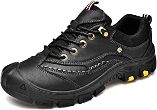 2019 Men lace-ups Flats, Mens Sport Sneakers Outdoor Shoes for Men Climbing Hiking Athletic Lace up Genuine Leather Stitching Outsole Strong Anti Slip Durable Lightweight