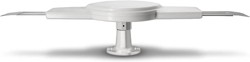 Continu.us Omni-Directional Amplified RV Antenna | Digital TV 360° Reception, 55 Mile Range, Power Amplified Recreational Vehicle HD Caravan Antenna. Portable, Compact & Waterproof. (White)