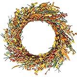 YQing 45 cm Künstlich Beere Herbstkranz, Herbstlaub Haustür Kranz Gelb Blätter Deko Beere Kranz für Thanksgiving Dekoration Indoor Saison Herbst Haus Dekoration