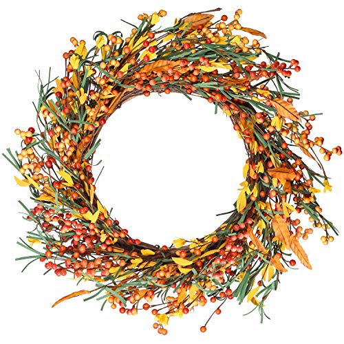 DearHouse 18 Inch Artificial Fall Wreath Door Wreath Autumn Wreath Berry Wreath Fall Decorations, Harvest Thanksgiving Door Wreath for Front Door with Leaf and Berry