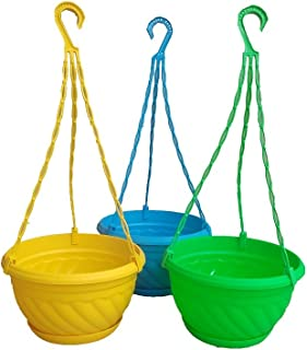 Hanging Planter Plastic with Bottom Tray Multi Color