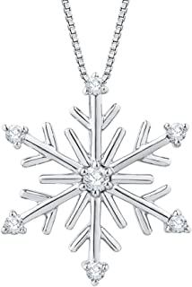 Diamond Snow Flake Pendant Necklace in Gold or Sterling Silver (1/10 cttw, Color GH, Clarity I2-I3)