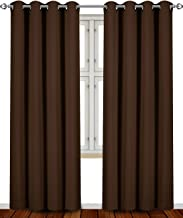 Utopia Bedding Blackout Room Darkening and Thermal Insulating Window Curtains/Panels/Drapes - 2 Panels Set - 8 Grommets per Panel - 2 Tie Backs Included (Chocolate, 52 x 84 Inches with Grommets)