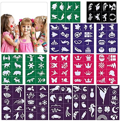 Konsait Tattoos Schablonen für Kinder, 130 Stück Glitzertattoos schablonen, Temporäre Tattoos Kinder Schminkschablonen für Mädchen Jungen, Kinder Tattoo Schablone für Schminke