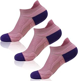HAPYCEO Men's Padded Tab Performance Compression Fit Running Ankle Socks, 1/3/6 Pairs