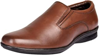 Kanprom Men's Brown Genuine Leather Formal Slip On Shoes