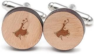Spanish Dancer Cufflinks, Wood Cufflinks Hand Made in The USA