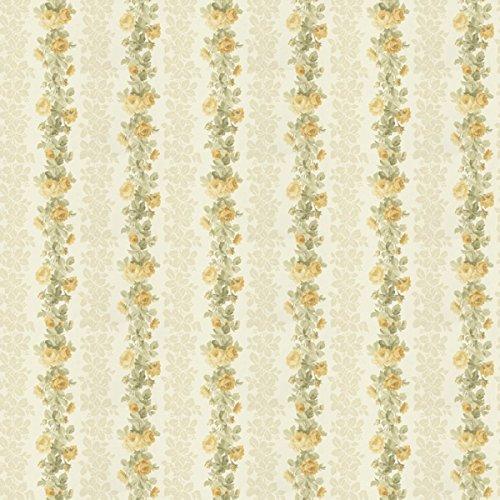 MyTinyWorld 5 Stück Puppenhaus gelb Kletterrose Streifen Tapete Blätter