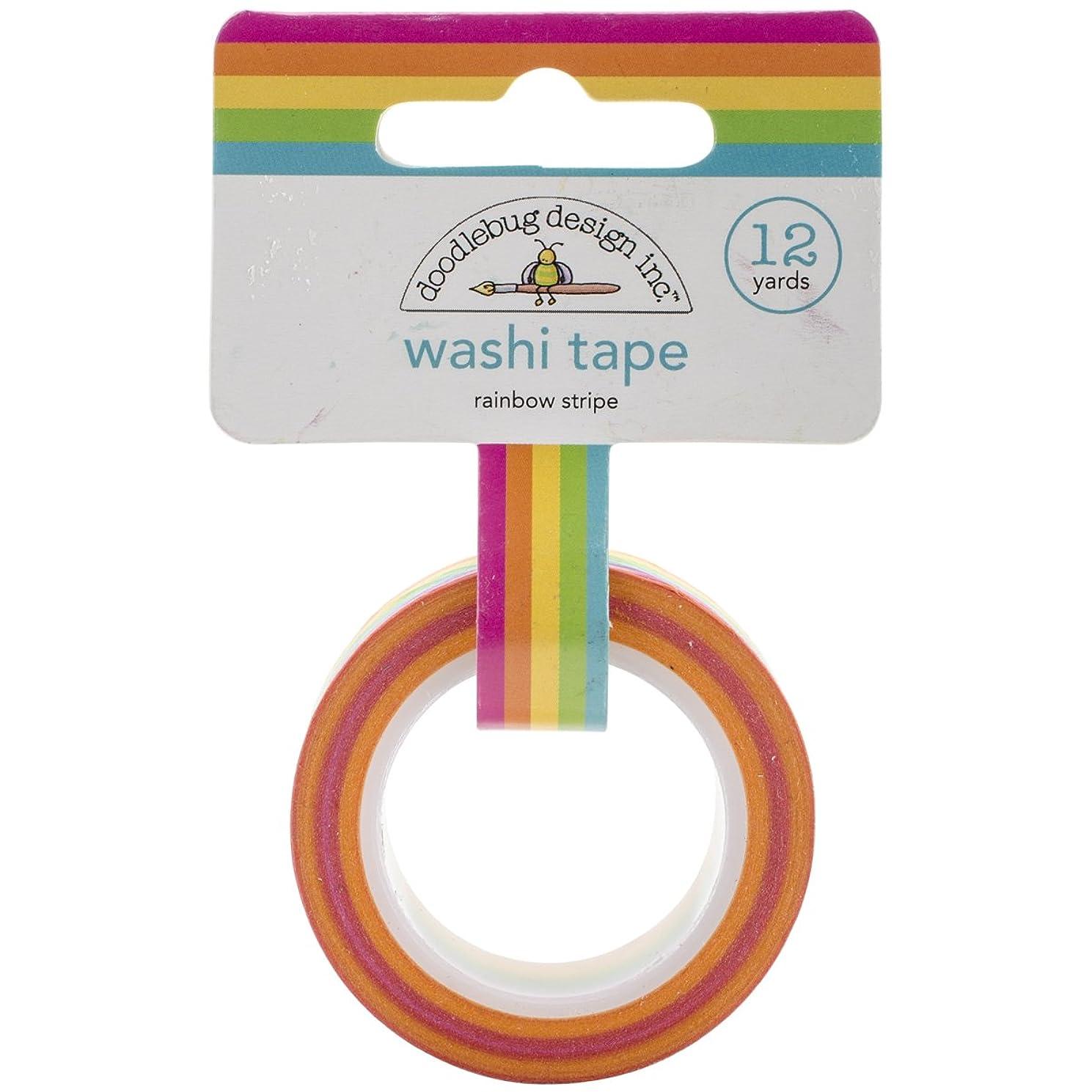 Doodlebug Washi Tape, 15mm by 12-Yard, Rainbow Stripe