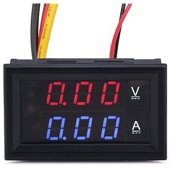 """MCIGICM 0.28"""" LED Voltmeter Ammeter, Red and Blue Digital Multimeter Display Voltage Current Tester,DC 0-100V 10A Detector Voltage Current Meter Panel Amp Volt Gauge"""