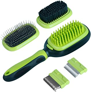 5 in 1 Pet Brushes for Dogs and Cats, Dual Side Pet Grooming Brush Set Multi-Function Hair Remover