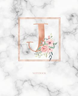 Notebook: Marble Rose Gold Monogram Initial Letter J with Marble and Pink Floral Notebook Journal for Women, Girls and Sch...