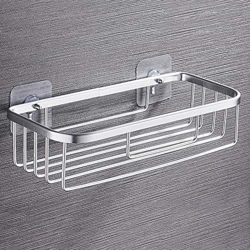 LAZY CAT Estantes de baño, estante de almacenamiento de ducha, estantes de cocina, sin perforación, organizador de cesta, accesorios de baño (color plateado brillante y largo)