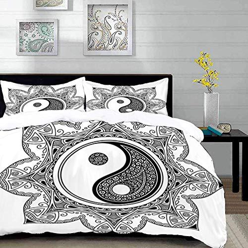 ropa de cama - Juego de funda nórdica, Ying Yang, caracteres asiáticos de YIn Yang para movimiento y armonía en el patrón de mandala Macro Cosmos, Bl, juego de funda nórdica de microfibra con