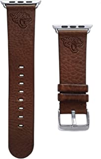 Game Time Jacksonville Jaguars Brown Leather Band Compatible with Apple Watch - 42mm/44mm Long Length