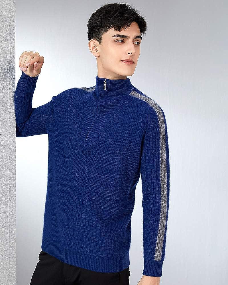 织礼 Zhili Men's 100% Cashmere Mock Neck Stand Collar 1/4 Zip up Pullover Polo Sweater