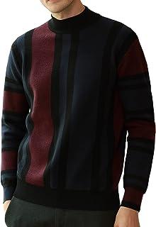 GRACE KARIN Mens Vintage Stripes Pullover Stand Collar Mockneck Jumper Sweater