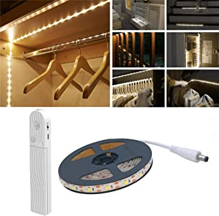 Motion Sensor Wardrobe Light, 2M 120 LED 3000K Warm White LED Strip,USB Or Battery Operated Warm White with,Timer,Day/Night Sensor Switch for Closet,Cupboard,Under Cabinet,Stairs,Bed Night Lighting
