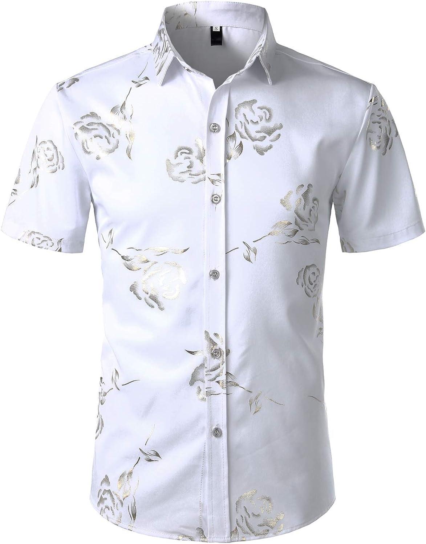 ZEROYAA Mens Hipster Gold Rose Printed Slim Fit Short Sleeve Button Down Dress Shirts