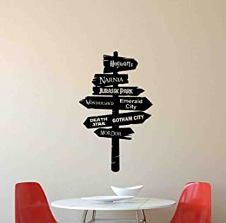 Road Sign Wall Decal Way Pointer Harry Potter Star Wars Lord Of the Rings Narnia Emerald City Jurassic Park Disney Quote Vinyl Sticker Kids Gift Home Bedroom Decor Art Poster Mural Custom Print 690