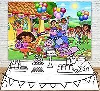 ドラエクスプローラーの女の子の誕生日パーティー用品の背景の背景の写真の背景の写真の小道具小道具新生児の写真撮影子供の写真の背景子供の誕生日の結婚式の祭り