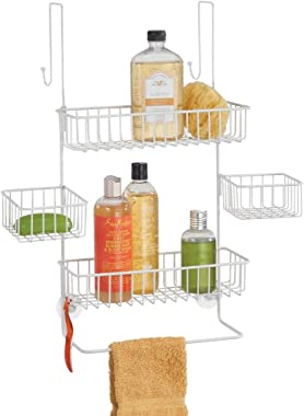 mDesign Extra Wide Metal Wire Over Door Bathroom Tub & Shower Caddy, Hanging Storage Organizer Center with Built-In Towel Hol