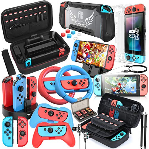 HEYSTOP 24 en 1 Accessoire Pack pour Nintendo Switch, Etui pour Nintendo Switch, Protection Transparente, Volants et Poignée Joycon, Protection écran, Playstand Support,Thumb Grip, Câble Type C etc.