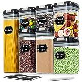 Wildone Recipiente hermético de almacenamiento de alimentos para almacenar granos y alimentos secos, cada juego de 7 recipientes de almacenamiento de alimentos con tapas de cierre fácil