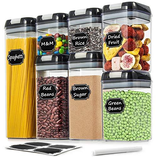 Wildone Frischhaltedosen für Müsli und trockene Lebensmittel, luftdicht, mit leicht verschließbaren Deckeln, für die Organisation und Aufbewahrung in der Küche, inklusive 20 Etiketten und 1 Marker