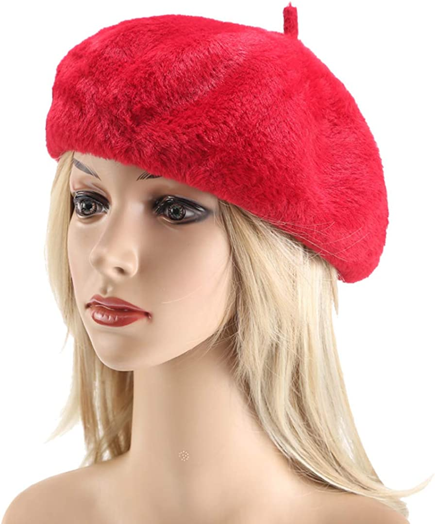 Joylife Faux Fur Solid Color Beret Hat