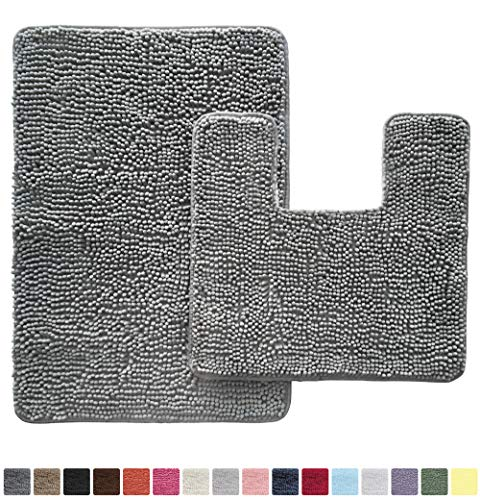 GORILLA GRIP Original Shaggy Chenille 2 Piece Area Rug Set, Includes Square U-Shape Contoured Toilet Mat & 30x20 Bathroom Rugs, Machine Wash/Dry Mats, Soft, Plush Rugs for Tub Shower & Bath Room, Gray