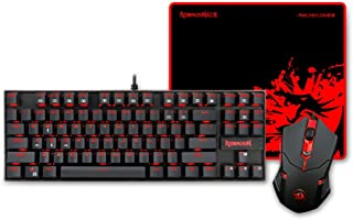 Redragon K552-BA Mechanical Gaming Keyboard and Mouse Combo & Large Mouse Pad, 87 Key RED LED Backlit Keyboard for Windows PC (Keyboard, Mouse, Mousepad Set)