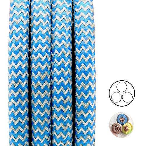 Textielkabel turquoise zand rasteroptiek 3 meter 3G stoffen kabel lampenkabel armatenkabel ronde kabel omsponnen