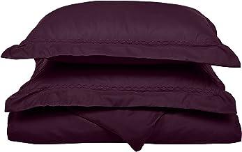 طقم غطاء لحاف أرجواني فائق النعومة وخفيف الوزن بنسبة 100% من الألياف الدقيقة المصقولة، مقاس Twin XL، مقاوم للتجاعيد، مع أغ...