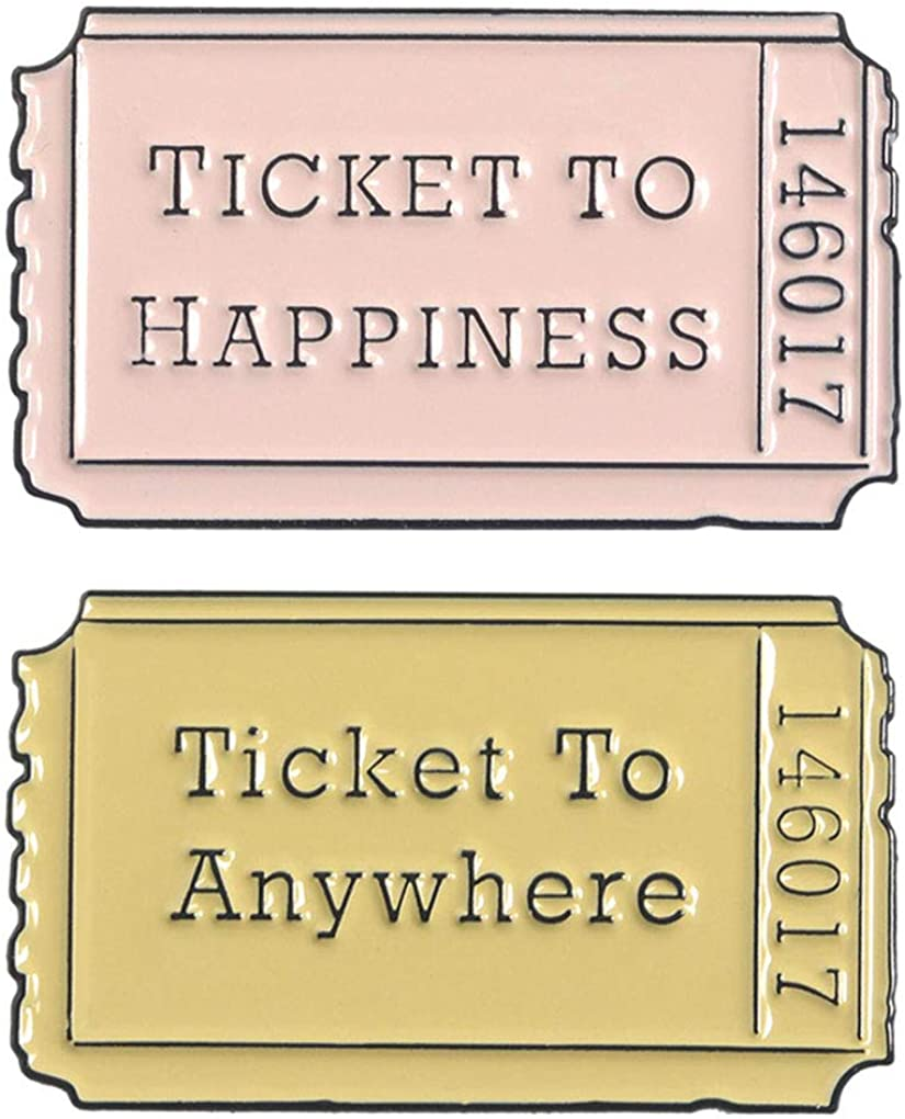 Charmart Ticket Lapel Pin 2 Piece Set Ticket to Anywhere Ticket to Happiness Enamel Brooch Pins Accessories Badges Gifts