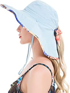 Women's UPF50+ Sun Hat Wide Brimmed UV Protection Flap Hat with Ponytail Hole