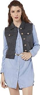 SAIRA FASHION Women- Denim Black-Sleeveless- Jacket