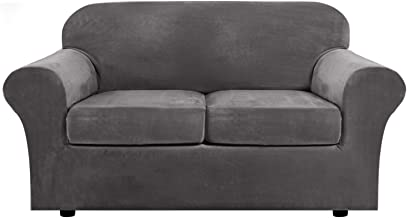 Real Velvet Plush 3 Piece Stretch Sofa Covers Couch Covers for 2 Cushion Couch Loveseat Covers (Base Cover Plus 2 Individual Cushion Covers) Feature Thick Soft Stay in Place (Medium Sofa, Grey)
