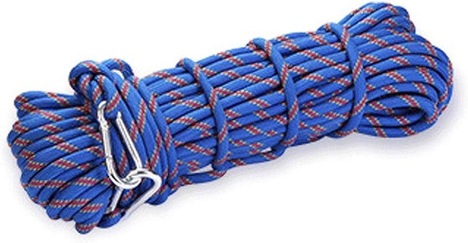 DFGih Corde Corde d'escalade extérieure 10M (32ft) 20M (64ft) 30M (96ft) 50M (160ft) Corde d'escalade, Escape Rope Corde de Sauvetage d'escalade Corde Escalade (Couleur   bleu, Taille   40m)