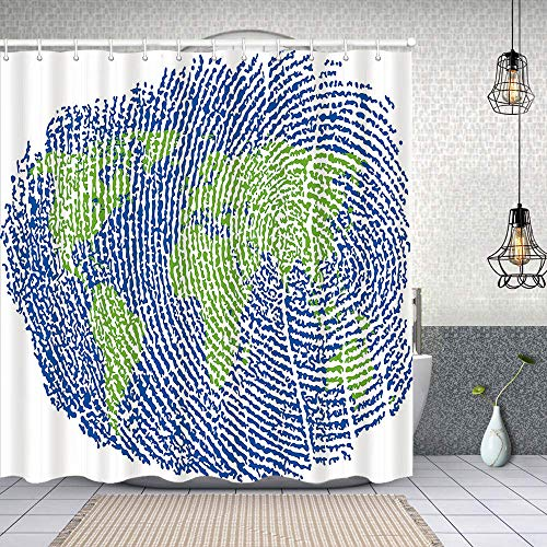 Starodec Fabric Shower Curtains Map of The World Fingerprint Style Continents Asia Europe Africa America waterproof Bath Curtains with Hook 62x72 inch