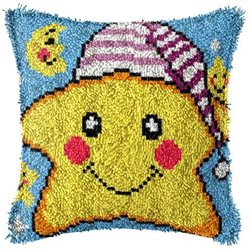 DIY lana bordado almohada hecha a mano con sombrero estrella de cinco puntas almohada para sofá cama coche (incluye kit de herramientas)
