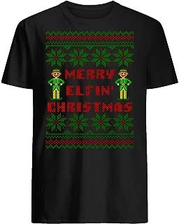 Merry Elfin Christmas Funny Ugly Sweater Shirt Unisex Short Sleeve Graphic Fashion T-Shirt
