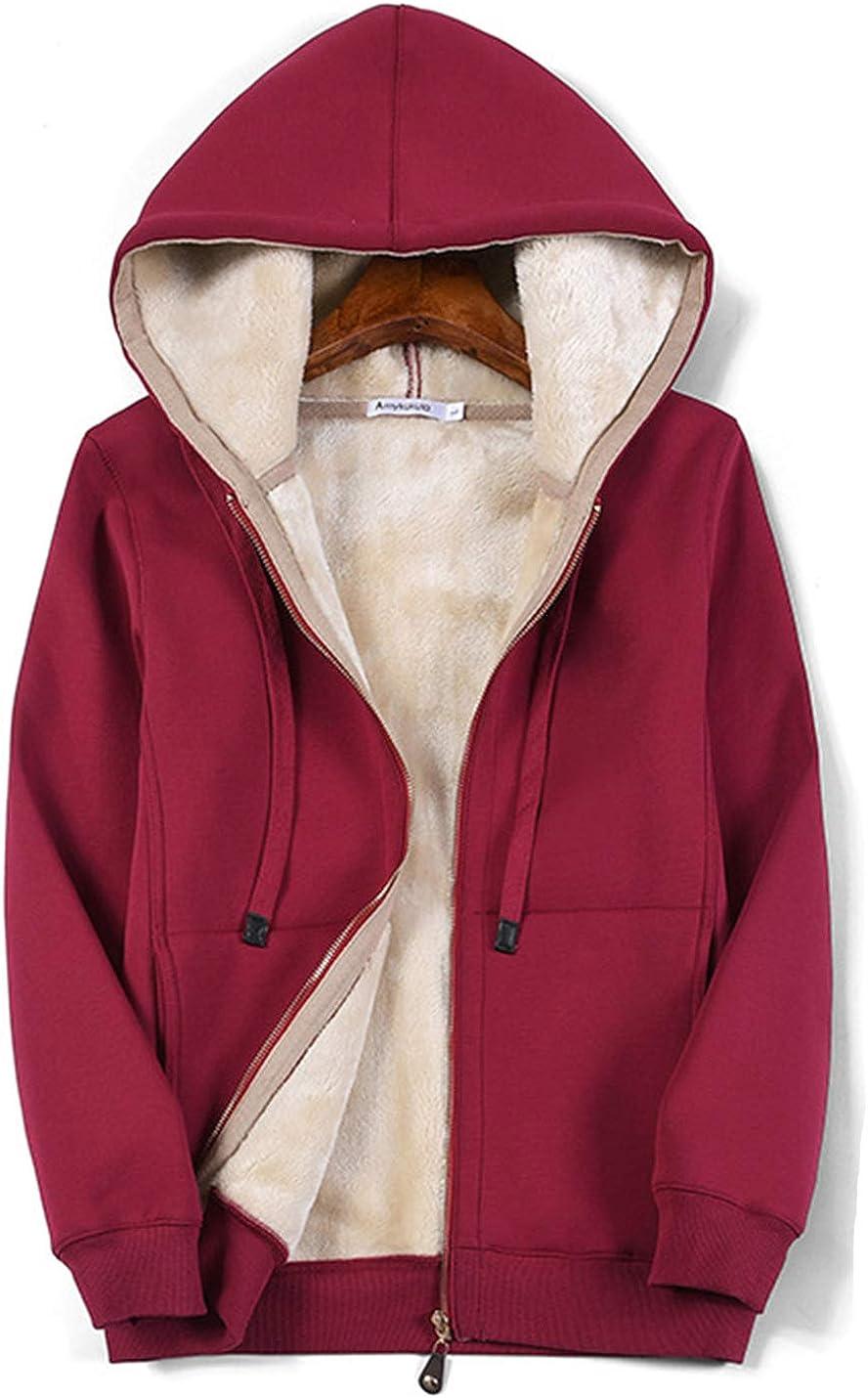 Flygo Sale Women's Casual Ranking TOP2 Winter Warm Sherpa Hoodie Full Zip Lined Fl