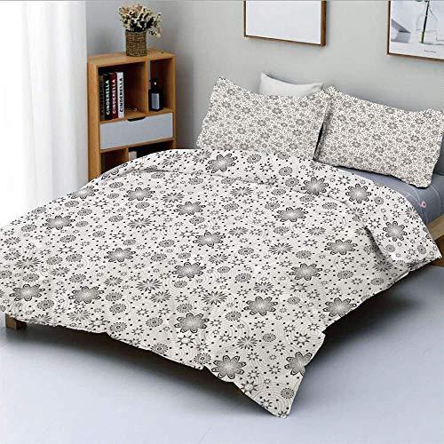 Totun Bettbezug-Set, mischen Sie Blumen mit rotierenden runden Ringen und Punktflecken auf dem Hintergrund Simplistic BlossomDecorative 3-teiliges Bettwäscheset mit 2 Kissen Sham, Cloud