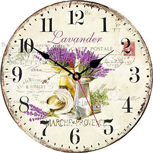 VIKMARI Purple Lavender Wall Clock 14 Inch Round Wooden Silent Non-Ticking Arabic Numerals Decorative Wall Clocks Battery Operated Indoor Clocks for Kitchen Bedroom Living Room