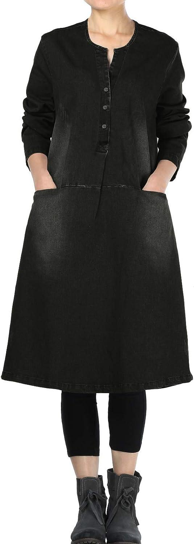 Mordenmiss Women's Denim Dresses Fall Winter Knee Length A-line Shirt Dress with Pockets
