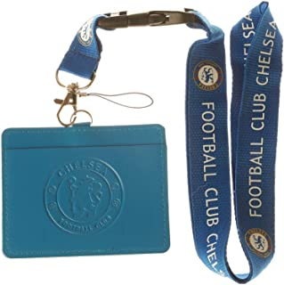 Chelsea FC Blue Faux Leather Business ID Badge Card Holder with Keychain Lanyard