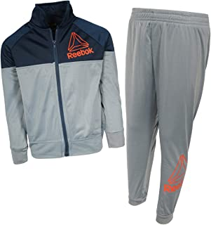 Reebok Boys 2-Piece Tricot Performance Zip Up Jacket and Matching Jogger Tracksuit Set