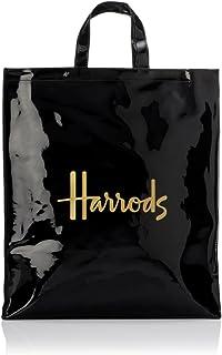 Signature Logo Large Shopper Bag – Bolso de mano negro de PVC con logotipo dorado – Cierre con botón magnético y bolsillo interior con cremallera – Bolsillo para teléfono móvil
