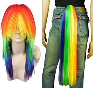 Anogol Hair Cap+ Rainbow Long Straight Cosplay Wig with Ponytail Halloween Party